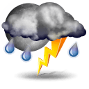 Patchy light rain with thunder