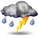 Moderate or heavy rain with thunder